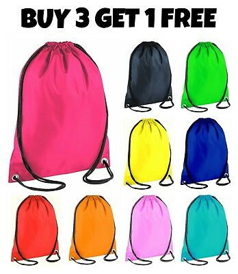 New School Drawstring Bag Sport Gym Sack Swim PE Kit Shoe Sports Backpack