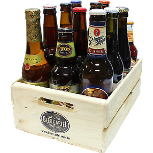 Mixed International Beer 12 Pack with Wooden Beer Crate