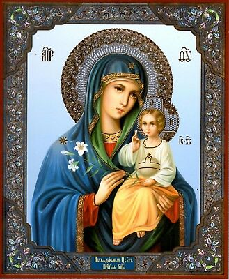 Virgin Mary in Blue/Fragrant Flower. Holy Icon from Russia. Large.