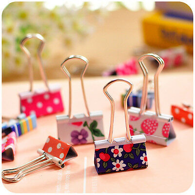 24x Lovely Metal Binder Clip Paper Clips Clamps Binding Office Tool Gift Kit#