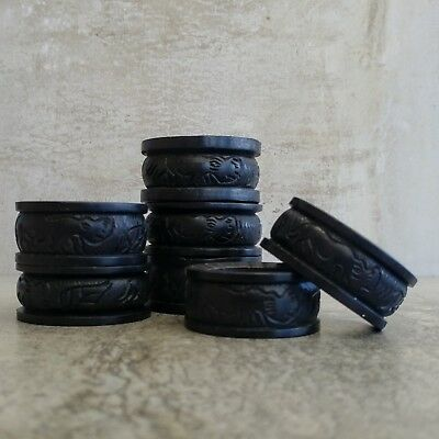 7 Vintage Hand Carved Wooden Napkin Rings African Animals Rhino Hippo Black wood