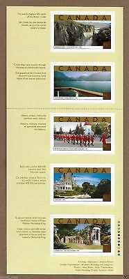 Canada Stamps — Unfolded Strip of 5 — Tourist Attractions #1989i — MNH