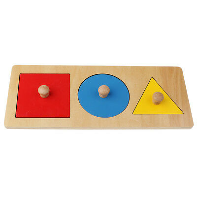 Kids Montessori Educational Learning Toy - 3 Color Geometry Puzzles Stacking
