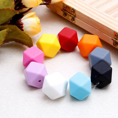 5Pcs DIY Silicone Hexagon Beads Necklace Making For Nursing Baby Teether Toy