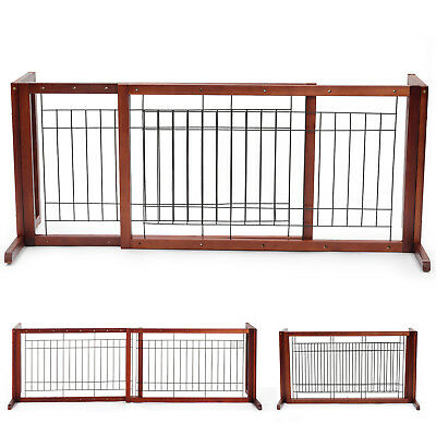 Adjustable Solid Wood Pet Fence Free Standing Dog Gate Indoor Hallway Safe Gate
