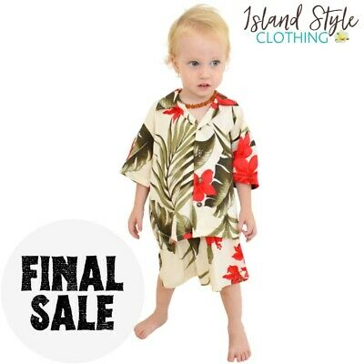 Cream & Red Baby Boys Hawaiian Shirt & Shorts Cabana