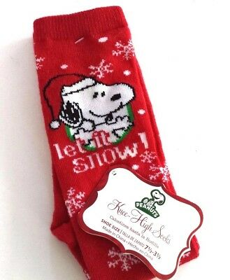 """Snoopy Christmas """"let It Snow"""" Knee High Socks Size 7 1/2-3 1/2 Nwt"""