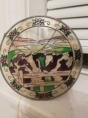 Cow farm stain glass look wall hanging
