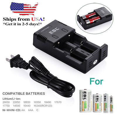 EBL Intelligent Battery Dual Charger for Lithium Li-ion 18650 26650 Ni-Mh AA AAA