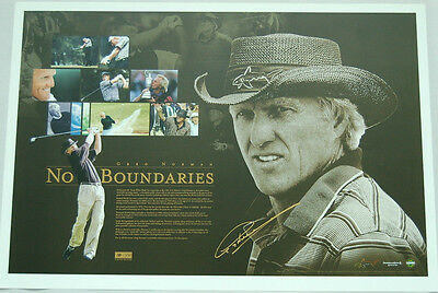 Greg Norman Hand Signed No Boundaries Limited Edition Golf Print Tiger Scott