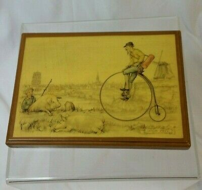 Anton Pieck Pigs And Tricycle Vintage Decoupage Picture Wood 1960