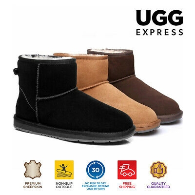 UGG Mini Classic Ankle Boots, Suede Upper & Sheepskin Inner, Non-Slip Sole