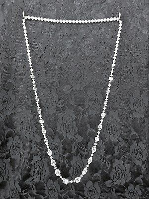 Vintage Clear Square Graduated hand-cut Crystal bead long necklace