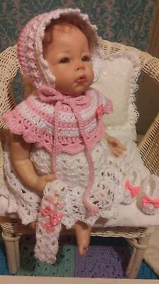 "New Hand Made Crochet Reborn Doll Dress Set Dusty Pink White Fit's 18""- 20"" Doll"