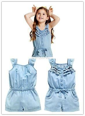 Toddler Girl Sleeveless Rompers Jumpsuit Summer Shorts Playsuit One-Piece AU