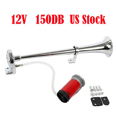 NEW!12V 150dB Single Trumpet Air Horn Chrome Super Loud F Truck Lorry Boat Train