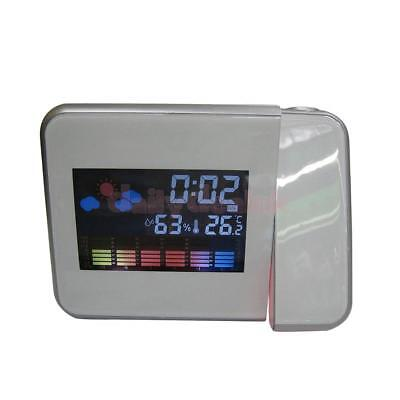 Wall Projector Digital LED Alarm Snooze Clock Weather Calendar Backlight WHT
