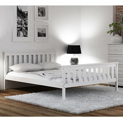 Pine Wood Bed Frame White 4ft Small Double 120x190cm Teen Slats Solid varnished