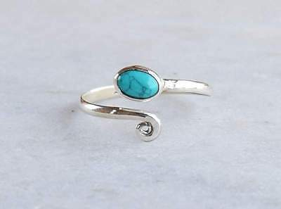 925 Sterling Silver Turquoise Stone Gemstone Toe Ring Feet Jewellery Adjustable