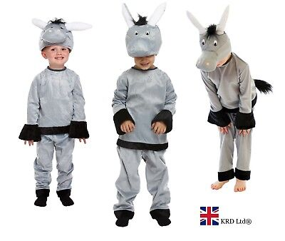 Kids DONKEY FANCY DRESS COSTUME Boys Girls Child Christmas Nativity Play Outfit