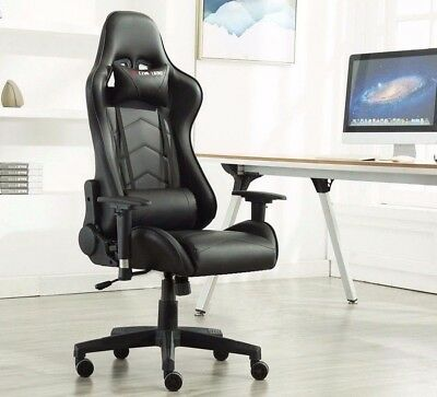 Gaming Sports All Black Chair Executive Recliner Faux Leather Computer Racing