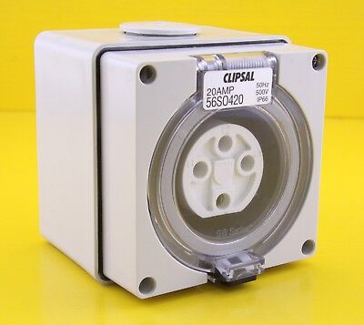 Clipsal 56SO420 Surface Mount Socket Outlet 4 Round Pin 3 Phase 500V 20A IP66