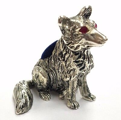 Antique Style Fox Pin Cushion With Ruby Eyes 925 Silver Plate