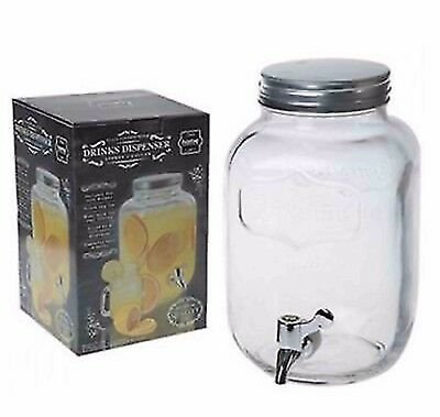 4L Dispenser Drink Water Cocktail Tap Screw Top Juice Punch Party Glass Jar Home