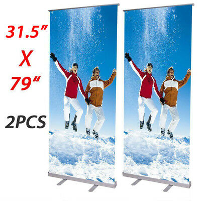 "2X Aluminum 31.5""x79"" Retractable Roll Up Banner Stand Pop Up Trade Show Display"