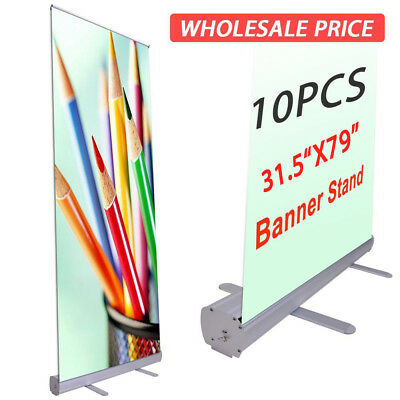 """10X Retractable Roll Up Banner Stand 80x200cm / 31.5""""x79"""" Full size Display Sign"""