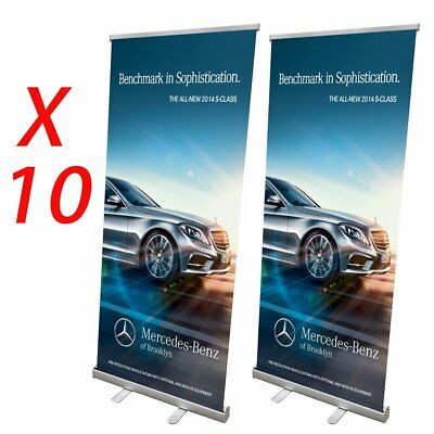 "10x Aluminum 33""x79"" Retractable Roll Up Banner Stand Pop Up Trade Show Display"