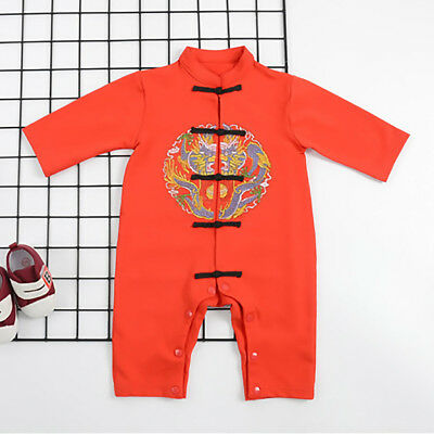 Chinese Tang Style Newborn Baby Boy Girls Cotton Romper Jumpsuit Outfit Clothes