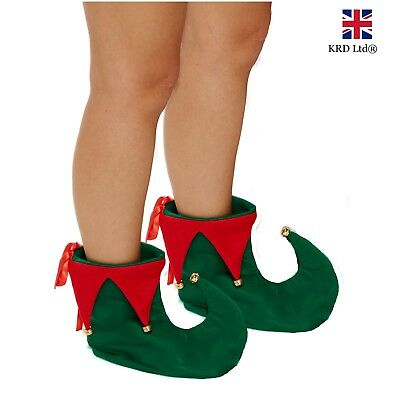 ADULT ELF JESTER PIXIE BOOTS Green Red Shoes Christmas Xmas Fancy Dress Costume