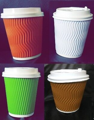 STRONG Insulated Ripple Disposable Paper Coffee Cups Lids 8 oz White/Brown/Green