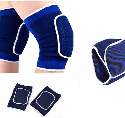 2 PCS Blue Soccer Sponge Knee Pad Black Football Knee Support Protector Sports