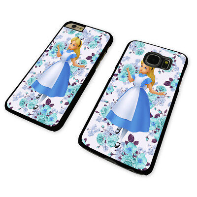 DISNEY ALICE AND FLOWERS  BLACK PHONE CASE COVER fits iPHONE / SAMSUNG (BH)
