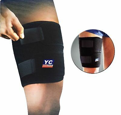 Black Adjustable Neoprene Thigh Support With Velcro Straps Hamstring Sleeve Wrap