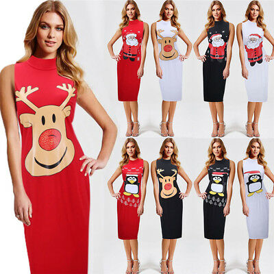 Women Christmas Party Evening Cocktail Dress Printed Casual Pattern Summer Dress