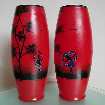 Paire De Vases Art Deco Scailmont Belgium Glass Antique Pair