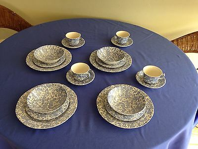 Burleigh Ware Blue Burgess Chintz 4 Person Dinner Setting + 4 Cups & Saucers