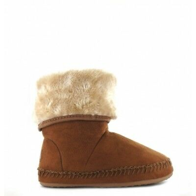 House of Slippers BOOTIE KIDS Warm Faux Fur Lined Boot Slippers Chestnut Brown