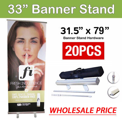 "20X Retractable Roll Up Banner Stand 80cmx200cm (33""x79"") Full size Display Sign"