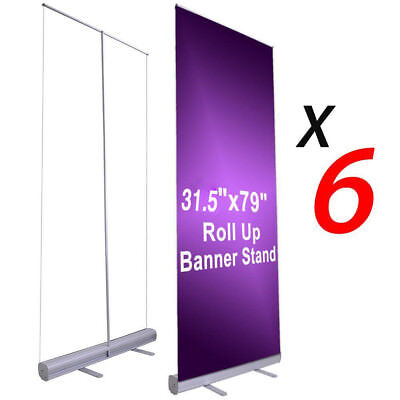 """6X 31.5""""x79"""" Retractable Roll Up Banner Stand Wedding Trade Show Sign Display US"""