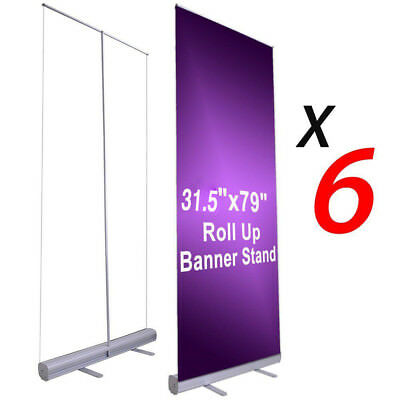 "6pcs 33""x79"" Retractable Roll Up Banner Stand Wedding Trade Show Sign Display US"