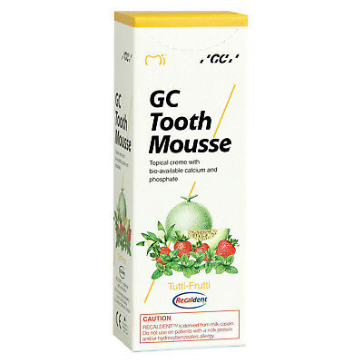 GC Tooth Mousse Tutti Frutt Paste 35ml Topical Cream Recaldent derived from milk
