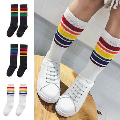 Girls Boy Kids Baby Rainbow Striped Over Knee High Stockings Cotton Sport Socks