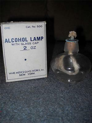 Vintage Glass 2 oz Alcohol Lamp in Box Ware Medics Glass Works New York