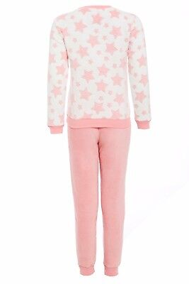 Girls Super Soft 100% Polyester Fluffy Fleece Pyjama 2 Piece Set With Star Print