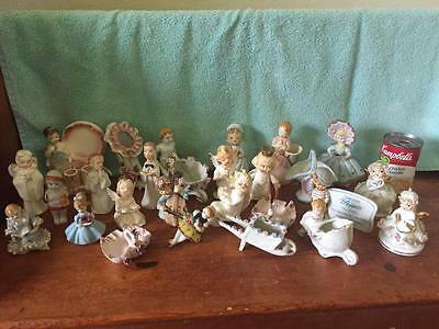 HUGE Lot of 24 ADORABLE Vintage 50s 60s Angels Figurines Lefton Gorham Japan