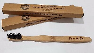 Bare & Co. Bamboo Charcoal Toothbrush - Med Bristle Eco Friendly environmental